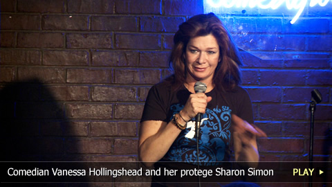 Comedian Vanessa Hollingshead and her protege Sharon Simon