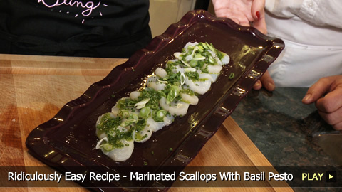 Easy Recipe - Marinated Scallops With Basil Pesto