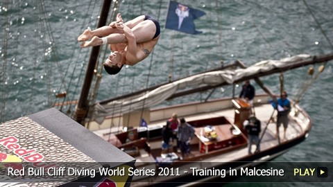 Red Bull Cliff Diving World Series 2011 - Training to Dive in Malcesine, Italy