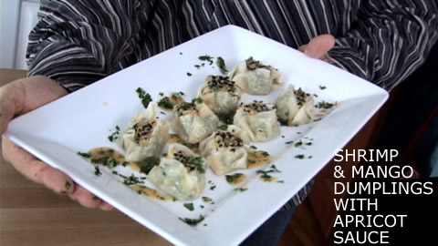 Steamed Dumplings and Apricot Dipping Sauce